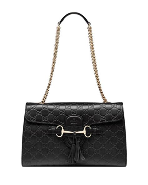 New Arrival Like Gucci Gucci Emily Guccissima Leather Chain Shoulder Bag Black