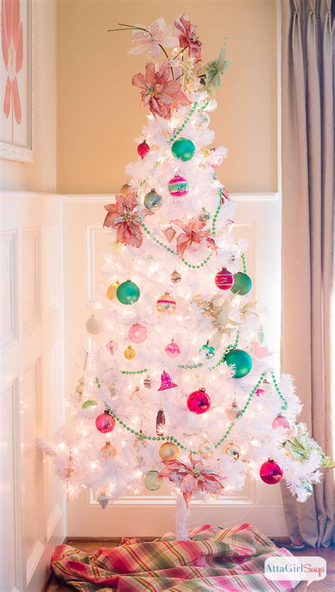 vintage white christmas tree with shiny brite ornaments