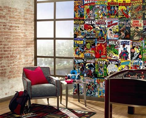 marvel comic bedroom ideas mural made from marvel comic book covers freshome com