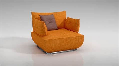 modern orange armchair 3d model cgtrader