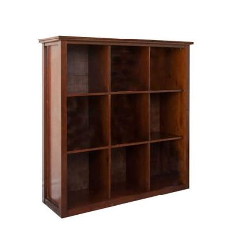 home depot bookshelves simpli home artisan 9 cube storage bookcase in medium brown wood axchol011 the home depot