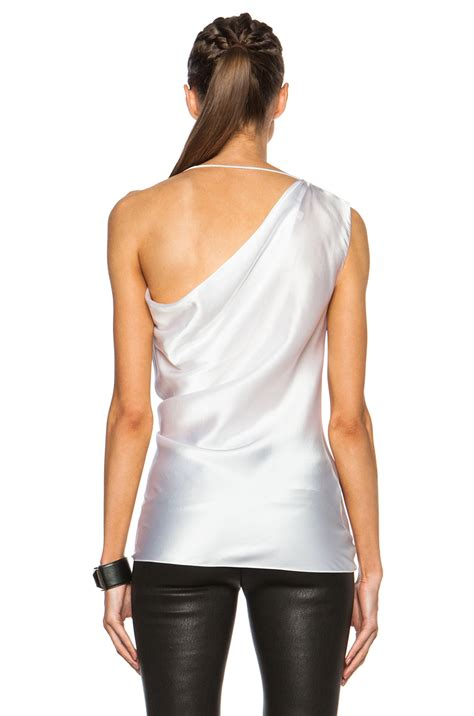 one shoulder drape top cushnie et ochs draped silk charmeuse one shoulder top in