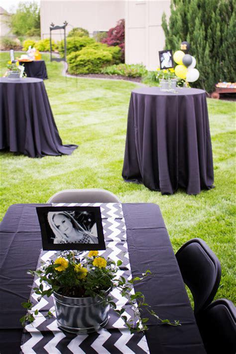 Backyard Graduation Decorating Ideas by Outdoor Graduation Black White Yellow