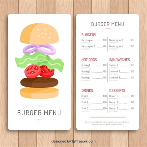 burger menu template with classic design vector free