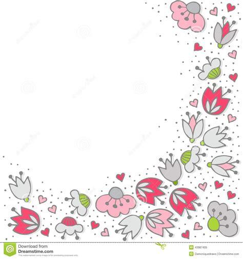 fiori e cuori fiori e cuori rosa sulla carta illustrazione
