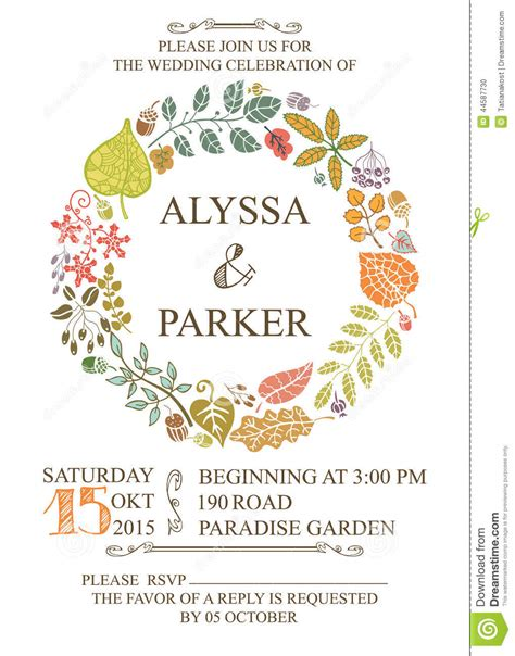 fall wedding invitations and save the dates autumn wedding invitation with leaves wreath stock vector