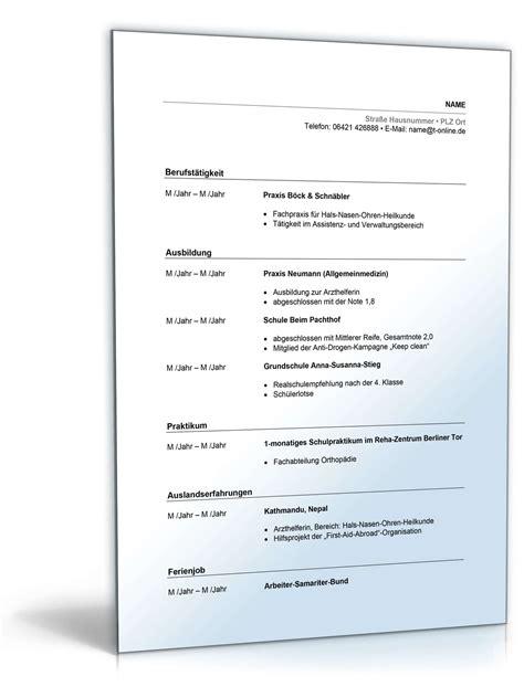 Lebenslauf Muster Arzthelferin Lebenslauf Arzthelferin Muster Zum