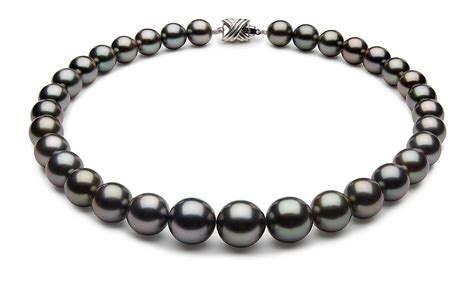 12 x 14 5mm black tahitian pearl necklace black green color