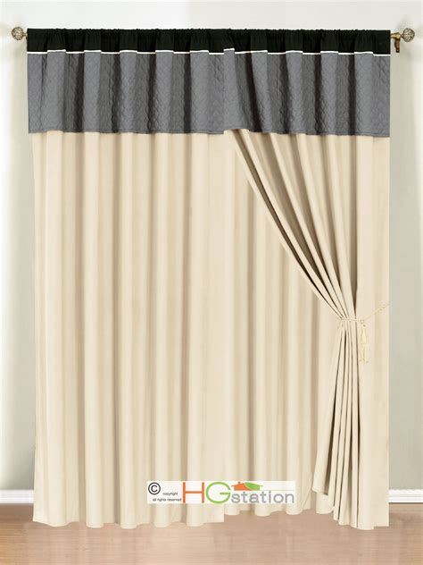 Beige And Gray Curtains 4p Clover Trellis Floral Curtain Set Silver Gray Black Beige Valance Sheer Liner Ebay