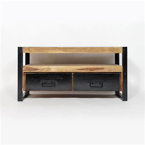 Meuble TV industriel 2 tiroirs bois foncé   Made in Meubles