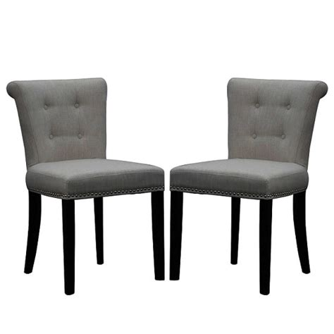 Calgary Fabric Dining Chair In Linen Effect Grey In A Pair Dining Chairs Calgary