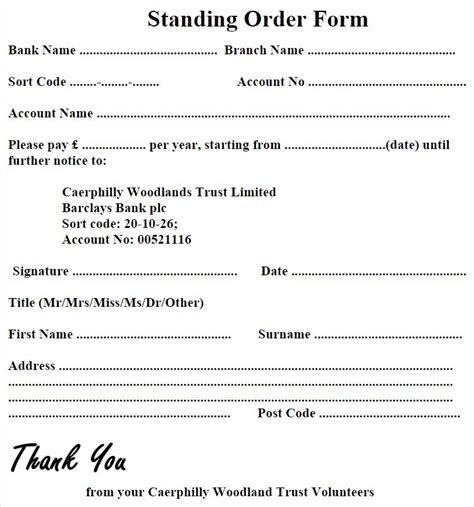 standing order form template standing order form