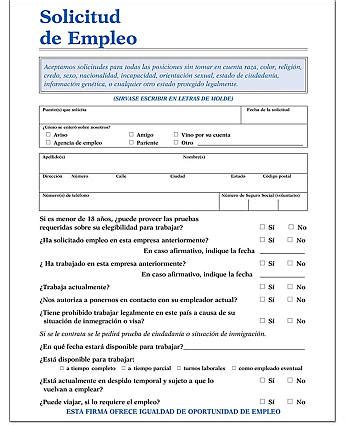 free printable job applications in spanish online