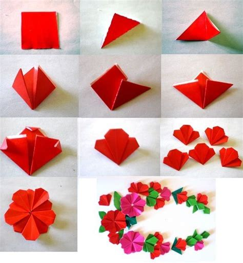 Flat Origami - really sweet flat origami flower origami