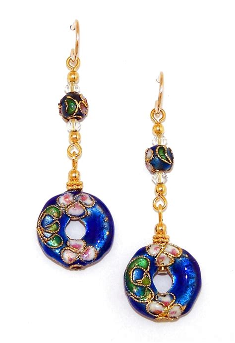 cloisonne earrings fancy blue donut beaded cloisonne