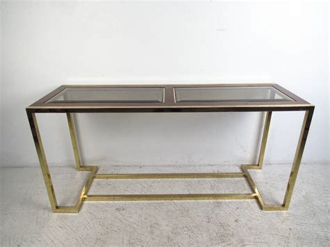 modern walnut console table mid century modern brass and walnut console table with