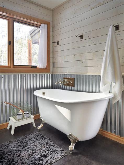 Bronze Bathtub Faucet Galvanized Metal Wall Treatment Bathroom Farmhouse With