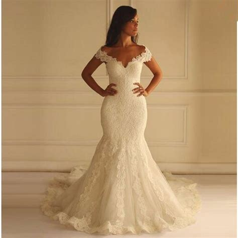 Mermaid Lace Wedding Gown sale lace mermaid wedding dresses v neck