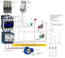 electrical diagrams direct start with a three phase motor thermal protection relay with
