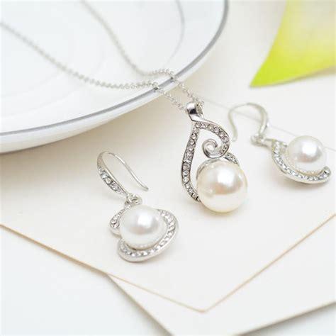 Rhinestone Necklace Earring pearl rhinestone wedding bridal necklace earrings