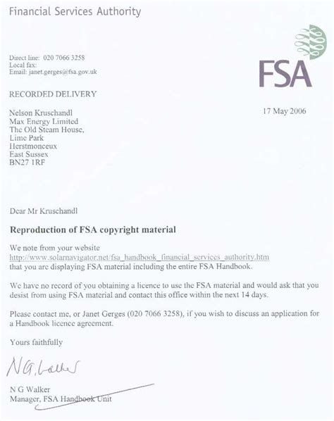 Financial Letter Of Indemnity Sle Financial Services Authority Fsa Money Lending