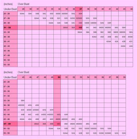 Bra Size Chart bra sizing chart us 6 bras new coobie a6880 plain silky