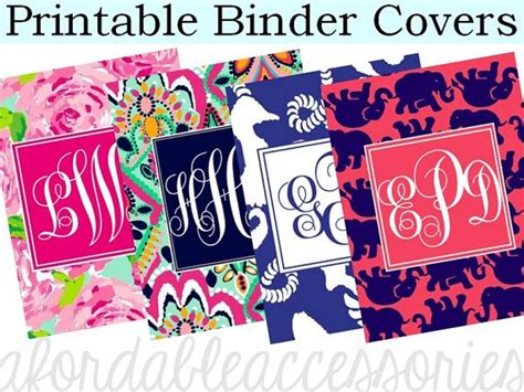 printable customized binder covers personalized lilly pulitzer binder cover by