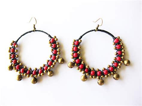 Handmade Earrings With - boho earrings jingle bells with bead handmade