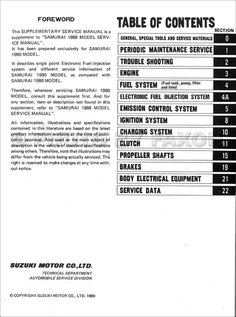 service and repair manuals 1990 suzuki sidekick electronic throttle control 1990 suzuki samurai repair shop manual supplement original