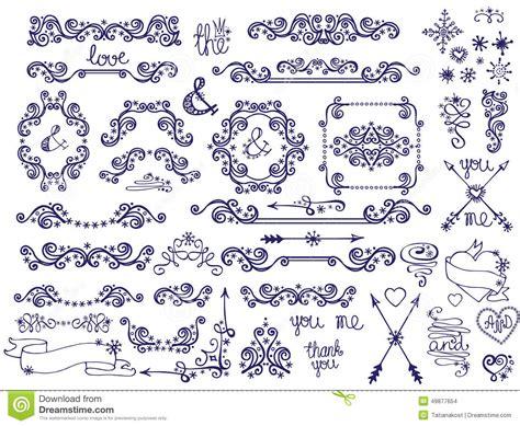 doodle border frame decor snowflakes winter love stock
