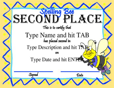 spelling bee award certificates printable car interior