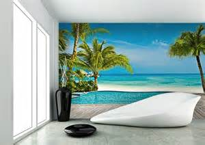 pool on the beach wall mural for home walls tropical beach wallpaper murals