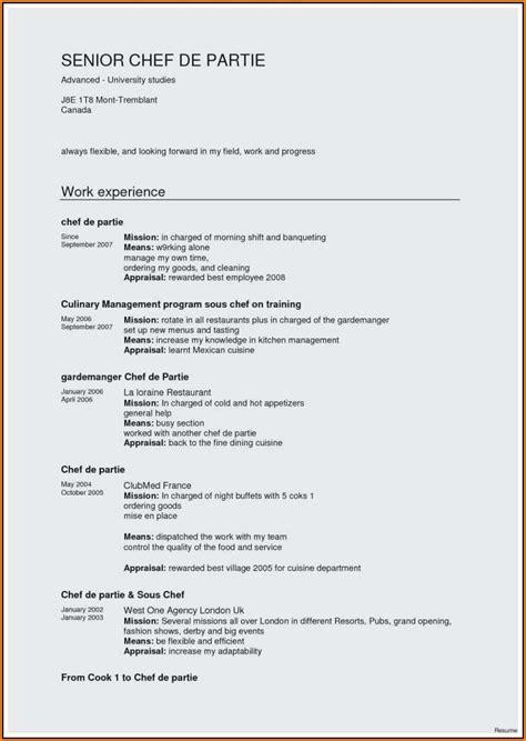 resume sample  chef de partie resume resume