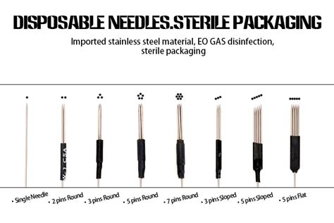 tattoo needle classification and identification 50 pcs box eyebrow tattoo machine needle with gamma ray