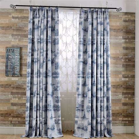Blue Patterned Curtains Blue Patterned Print Polyester Contemporary Bedroom Curtains