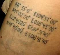 angelina jolie geographical coordinates tattoo angelina jolie tattoos with pictures and explanation