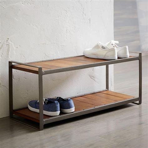 west elm shoe bench industrial shoe rack west elm au