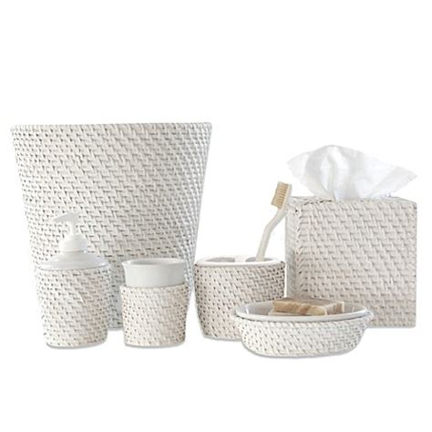 Caribbean White Rattan Bath Ensemble Bed Bath Beyond Rattan Bathroom Accessories