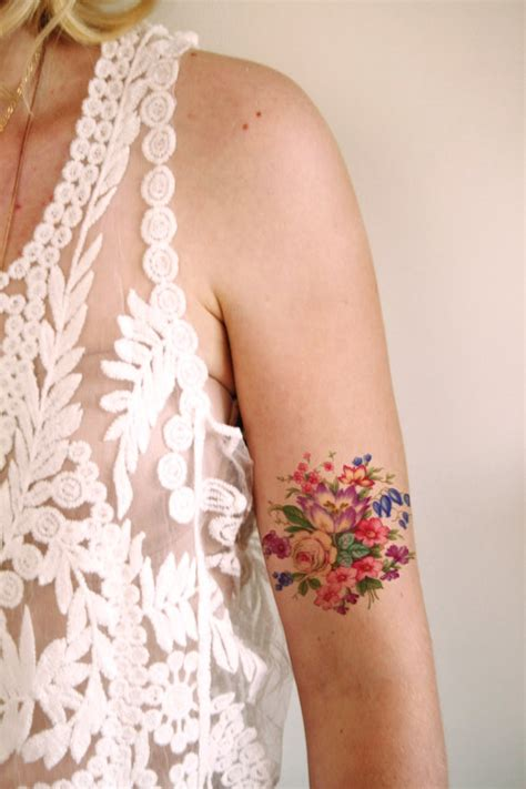 flora tattoo care reviews colorful vintage floral temporary tattoo vintage by