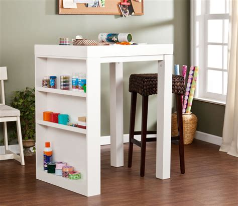 Small Desk With Storage Small Craft Desk With Storage With Wooden Craft Table And Square Work Surface Storage Bins