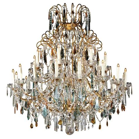 Colored Chandelier Prisms Continental Italian 24 Light Gilt And Chandelier With Colored Prisms At 1stdibs