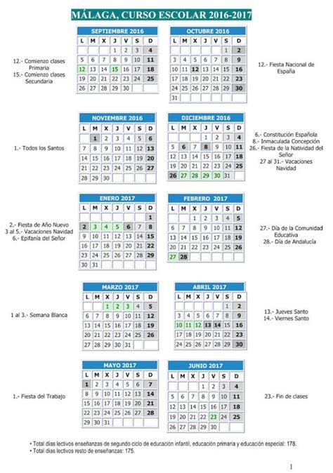 Calendario Escolar 2017 Malaga M 225 Laga Curso Escolar 2016 2017 Diariosur Es