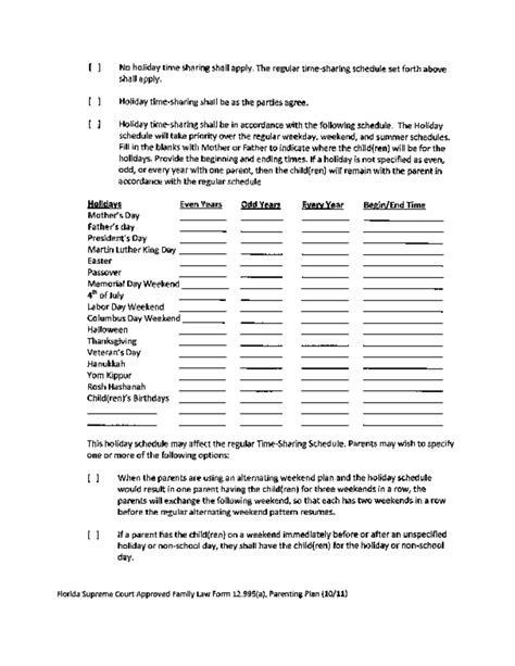 Sle Parenting Plan Template Florida Free Download Shared Parenting Plan Template
