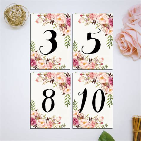 4x6 printable scroll grey and pink table numbers by wedding table numbers printable pink floral 4x6 table numbers