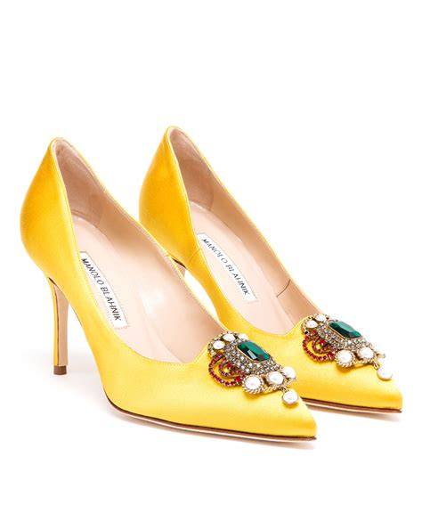 manolo blahnik high heels lyst manolo blahnik eufrasia high heeled satin pumps in