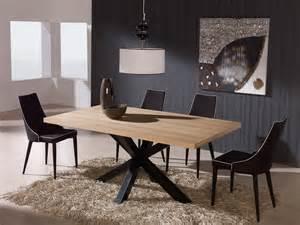 table 224 manger rectangulaire en bois et pi 232 tement acier