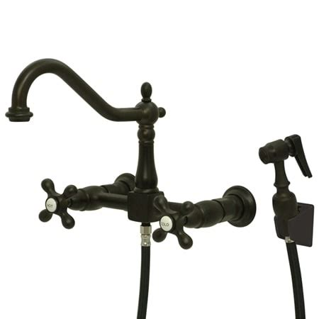 wall mount kitchen faucet with sprayer elements of design es1245axbs rubbed bronze handle 8 quot center wall mounted kitchen