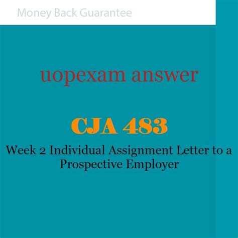 cja 483 week 2 individual assignment letter to a