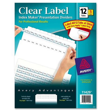 avery index maker clear label dividers 5 tab template avery index maker clear label dividers w tabs quickship