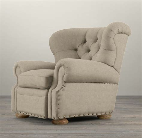 restoration hardware churchill leather recliner with nailheads churchill upholstered recliner with nailheads glassley